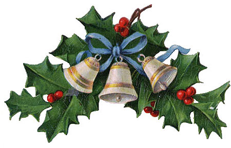 Free Clipart: Vintage Christmas Bells, Holly, Mistletoe.