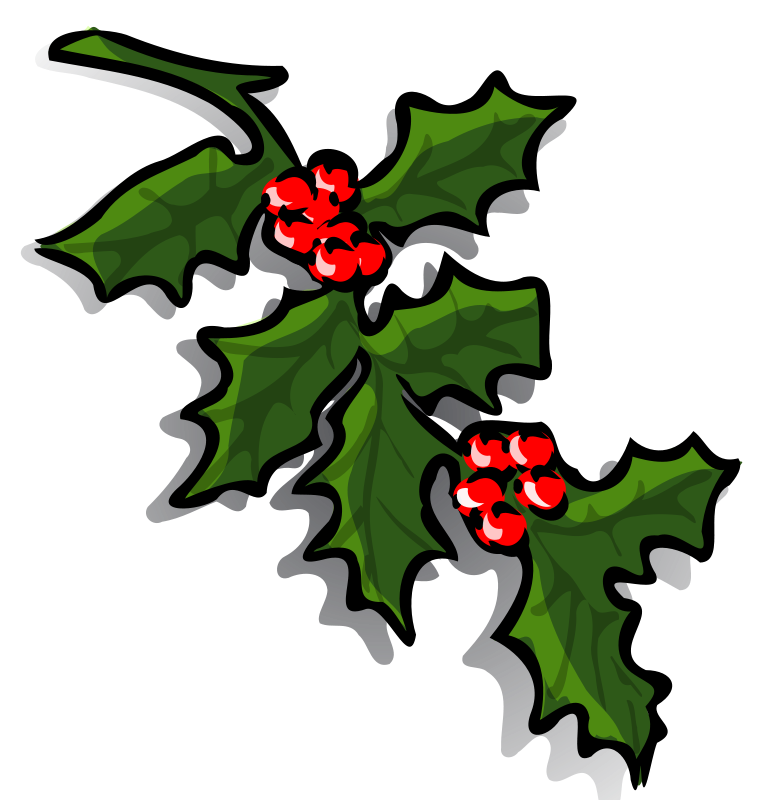 Graphics of Christmas Wreaths and Holly Sprigs.