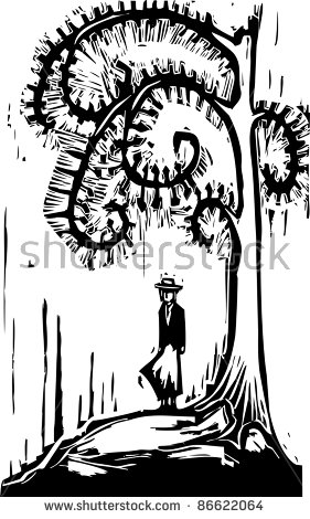 Man Looking Moon Under Tree Stock Vector 132458678.