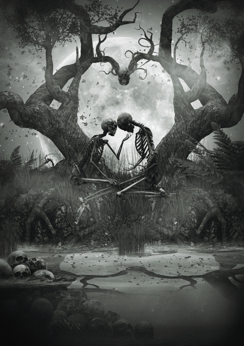 scary love tree white forever moon black edit kiss dark heart.