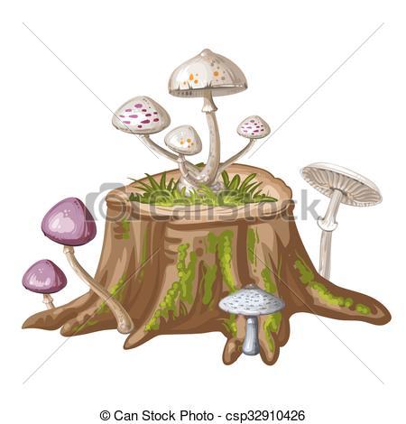 Vector Illustration of Mushroom on cut tree trunk csp32910426.