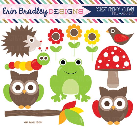 Erin Bradley Designs: Forest Friends Clipart & Digital Papers.