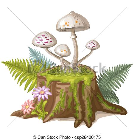Mushroom tree stump clipart.