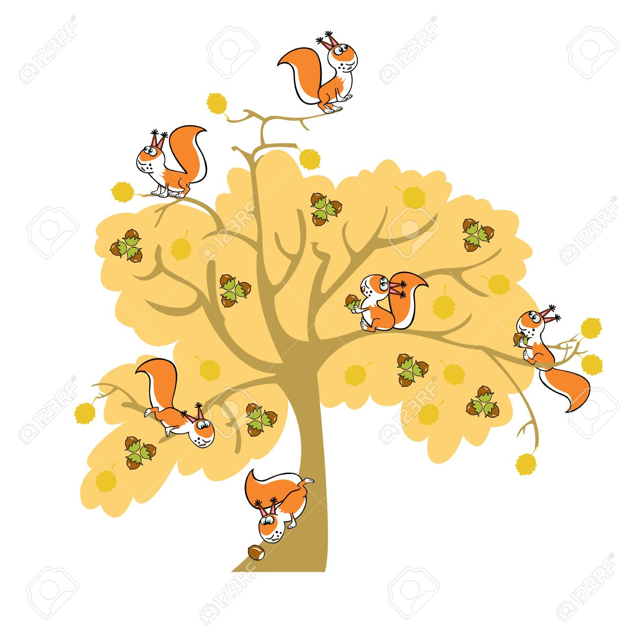Autumn Nut Tree With Squirrel, Children Illustration On White.