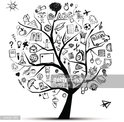 Tree of knowledge, school concept for your design Clipart.
