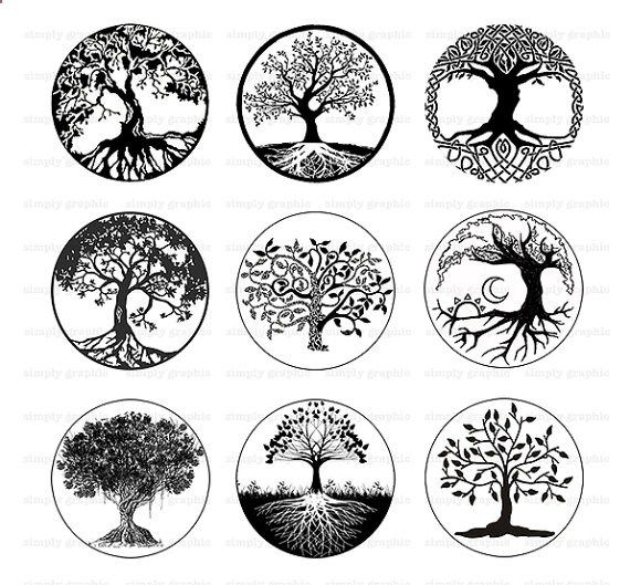 Tree of Life, Black and White Tree Clipart, Digital Download.