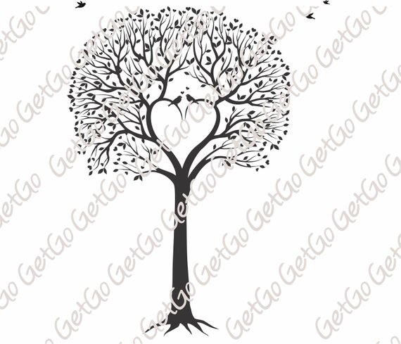 Tree of Life SVG, Love Birds Tree, Tree cut file, Vector.