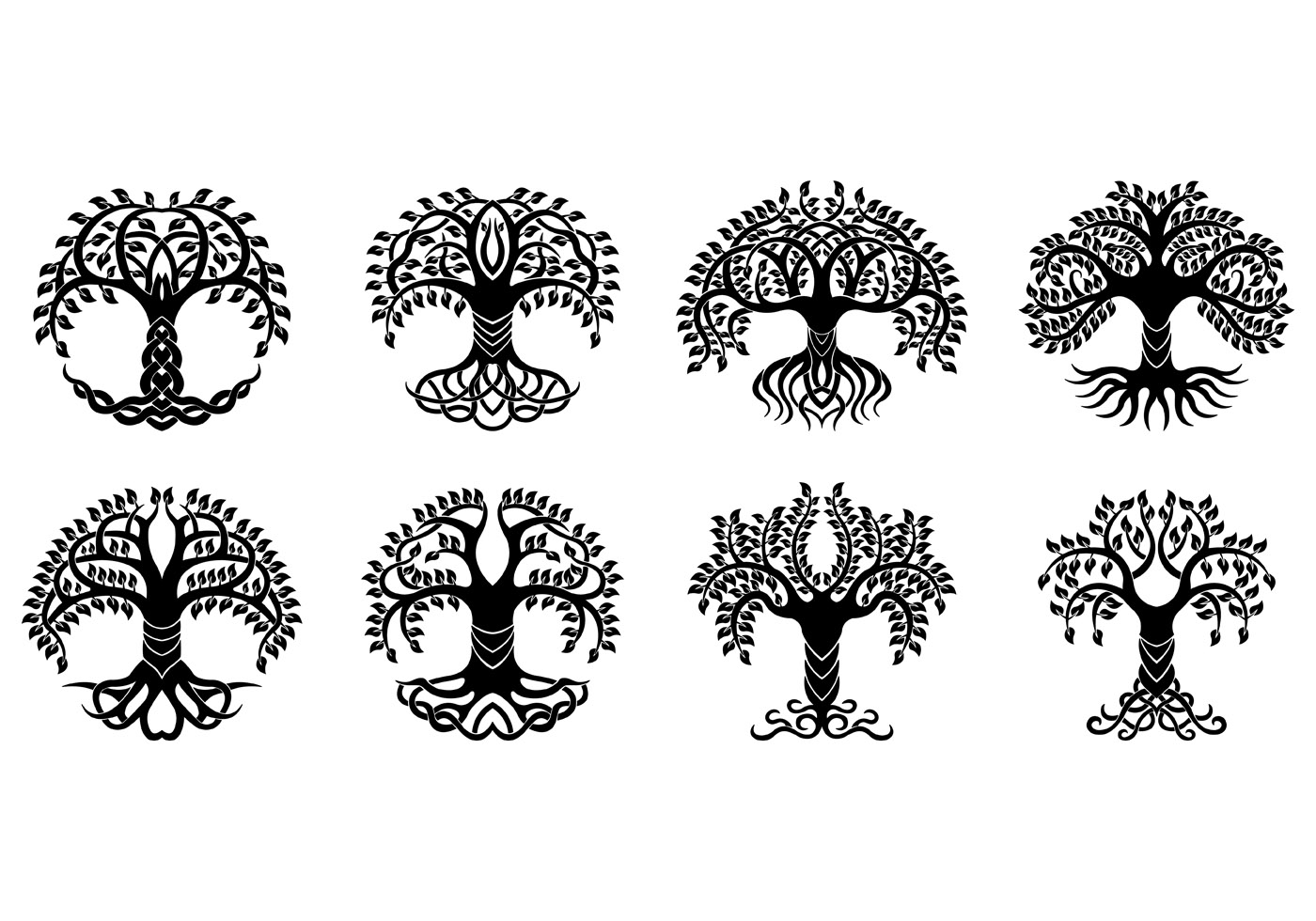 Set Of Celtic Tree Vector.