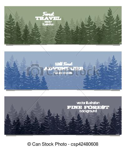 Vector Clipart of Forest horizon banners. Pine trees backgrounds.