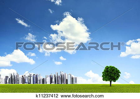 Clip Art of Green environment background with a straight horizon.