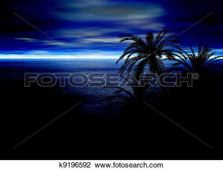 Clip Art of Blue Seascape Horizon With Palm Tree k9196592.