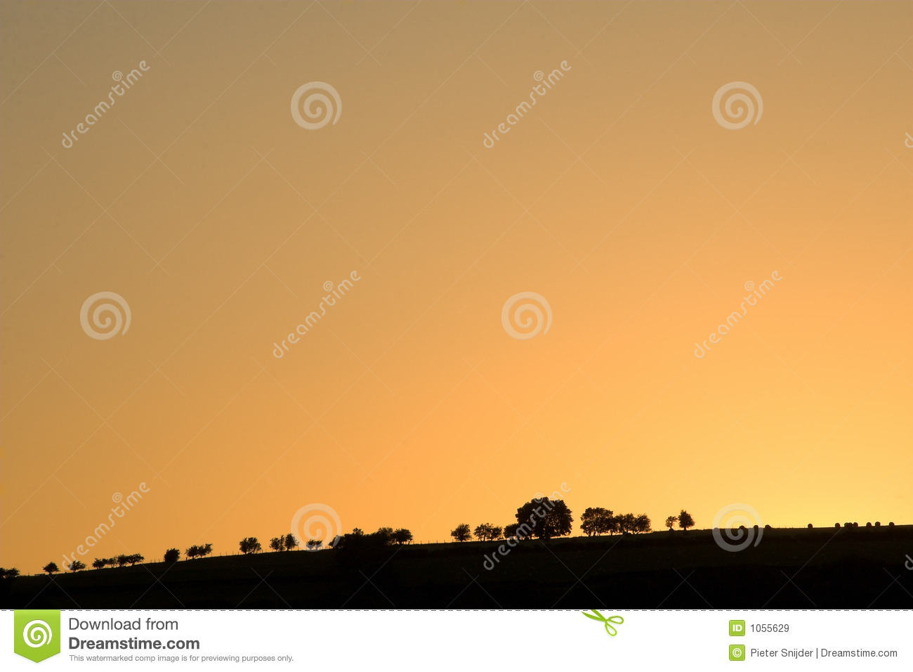 Low Horizon With Trees On Hill Royalty Free Stock Images.