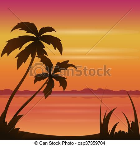 Vector Clipart of Sunset ocean summer beach with tropical palm.