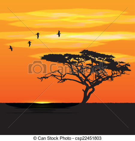 Vector Clipart of Sunset tree and birds silhouettes.