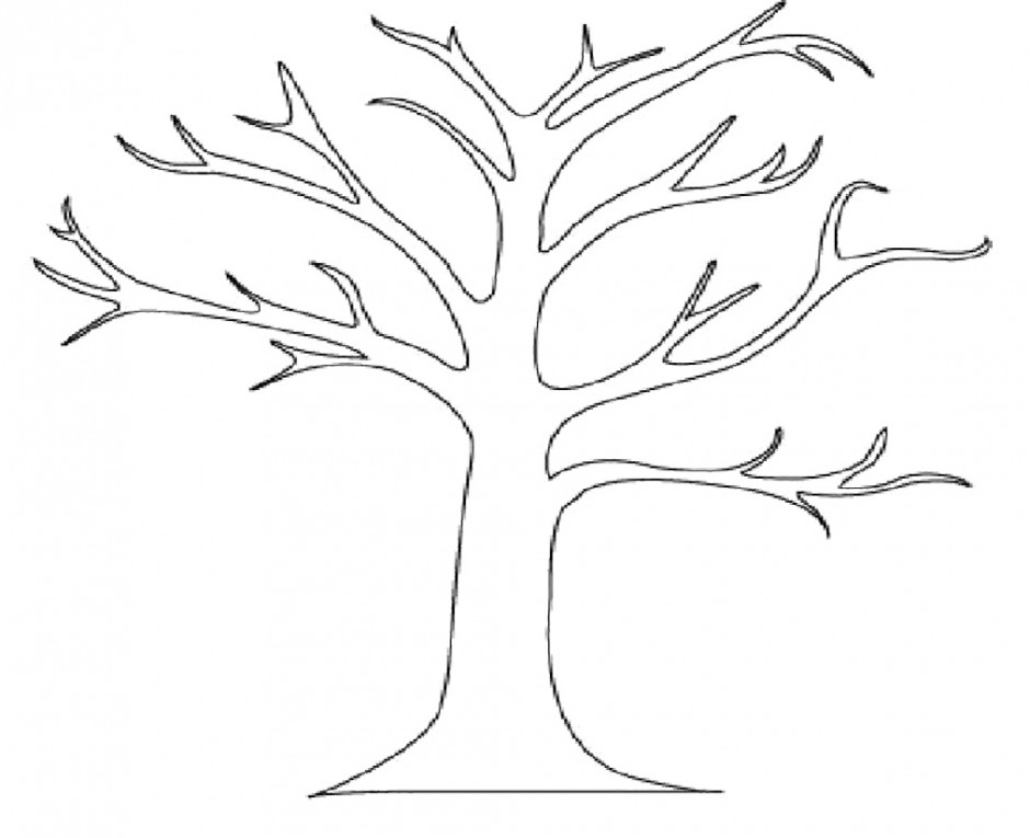 Tree clipart outline print.