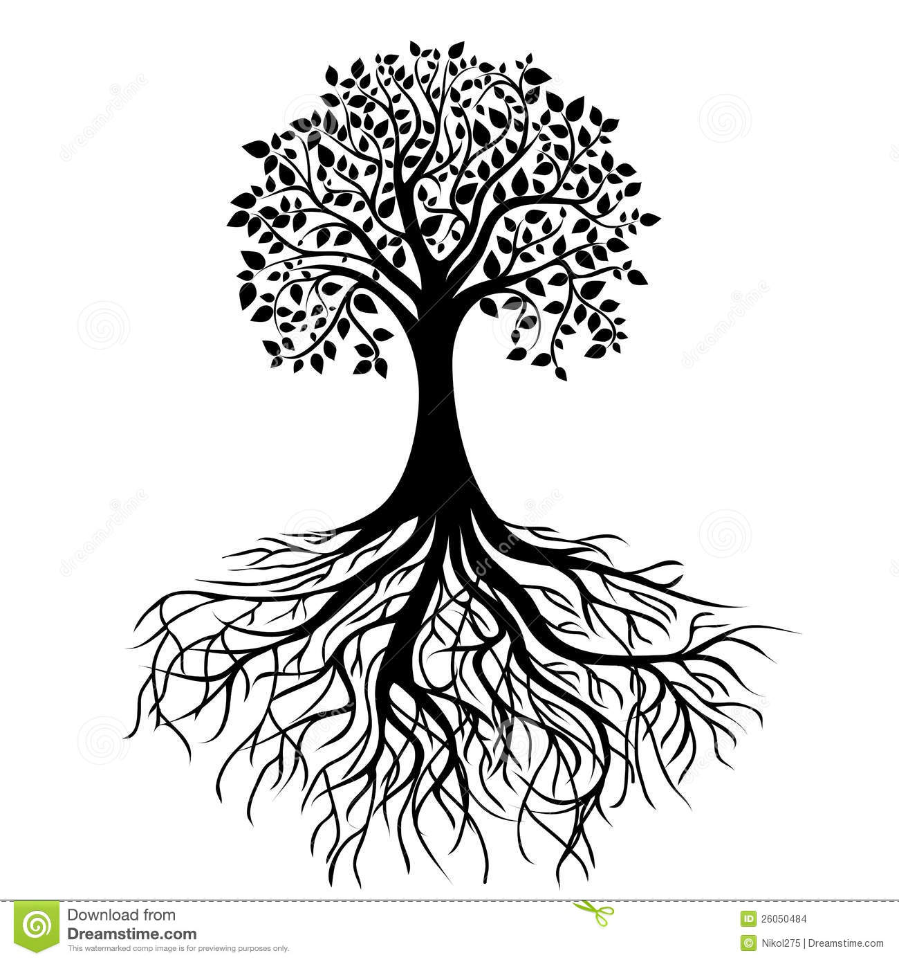 Tree With Roots Clipart Black And White.
