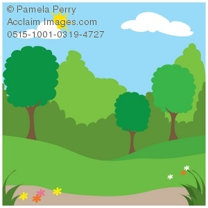 Clip Art Illustration of a Spingtime Park With Trees and Hedges.