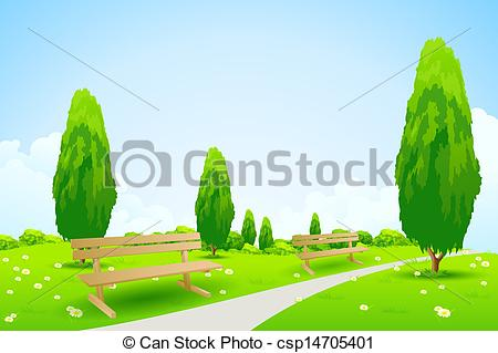 Vector Clipart of Park with Trees.