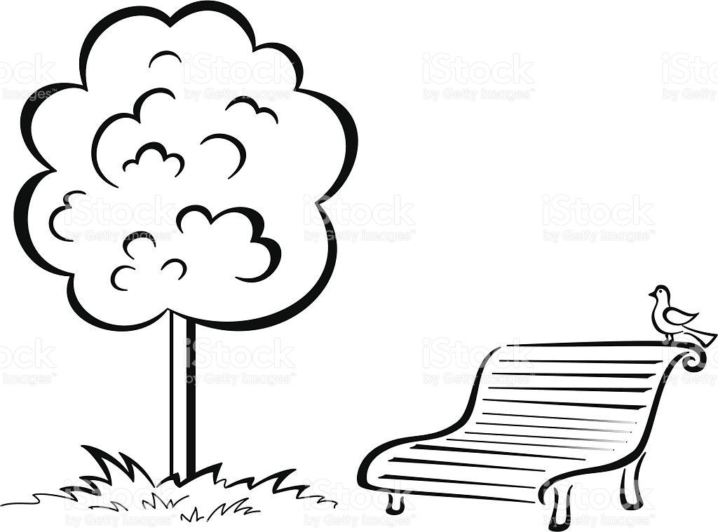 Bird On Park Bench And Tree Contour stock vector art 452775775.