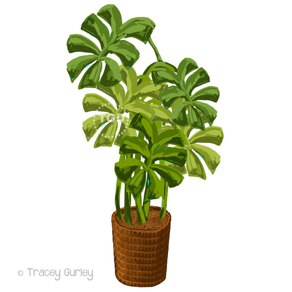 Tropical plant clip art Philodendron by TraceyGurleyDesigns.