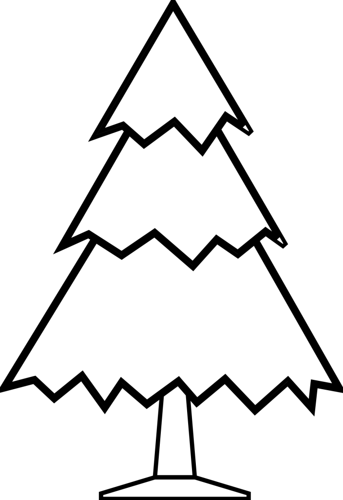 Christmas Tree Black And White Clipart.
