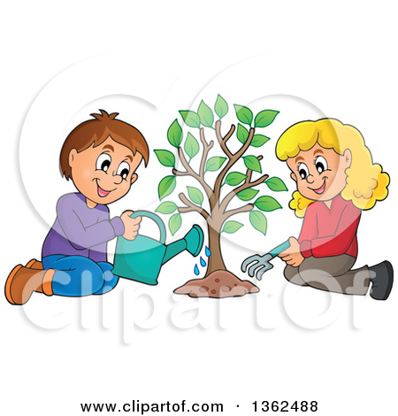 Clipart of a Caucasian Boy and Girl Planting a Tree Together.