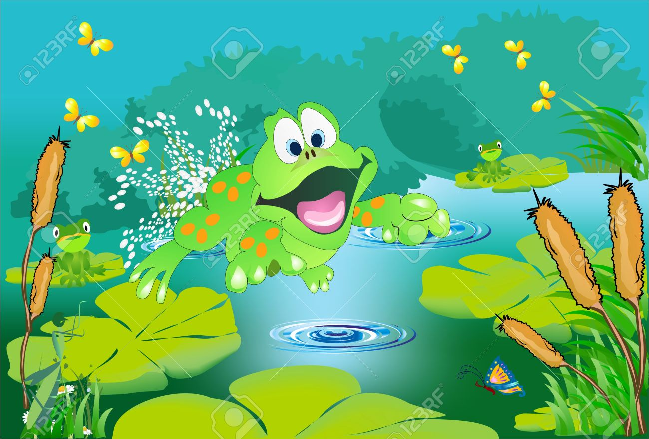 Green tree with pond clipart.