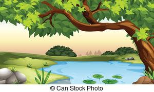 Tree Pond Clipart.