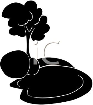 Picture of a Silhouette of a Pond With Rocks and a Tree In a.