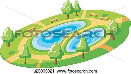 Clipart of grass, bench, pond, way, lake, tree u23063021.