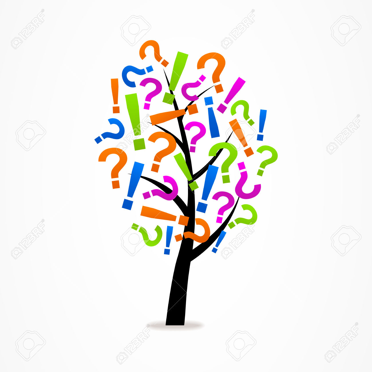 Tree Exclamation Mark And Question Mark Royalty Free Cliparts.