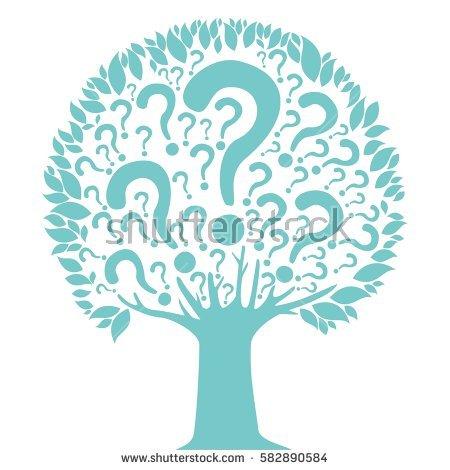 Green Tree Questions Mark Vector Illustration Stock Vector.