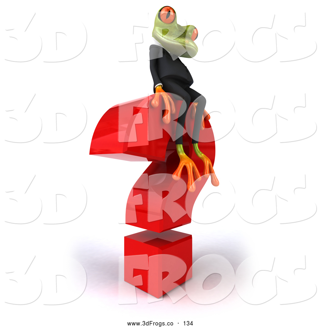 Illustration of a 3d Business Tree Frog Sitting on a Question Mark.