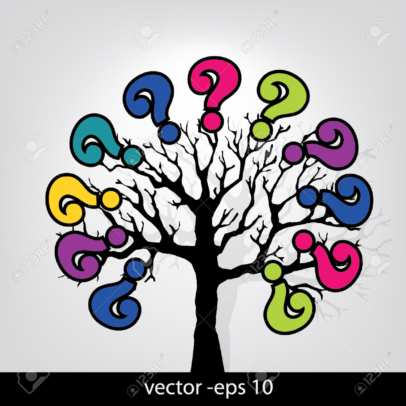 Tree Of Question Mark Royalty Free Cliparts, Vectors, And Stock.