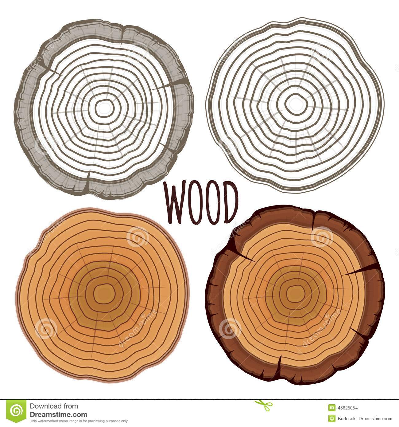 Tree Rings Flat Design Stock Illustrations.