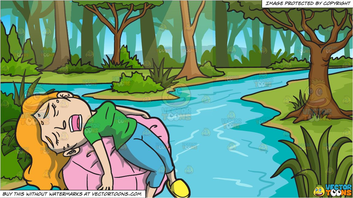 A Woman Exhausted From Vacuuming The House and A River In A Jungle  Background.