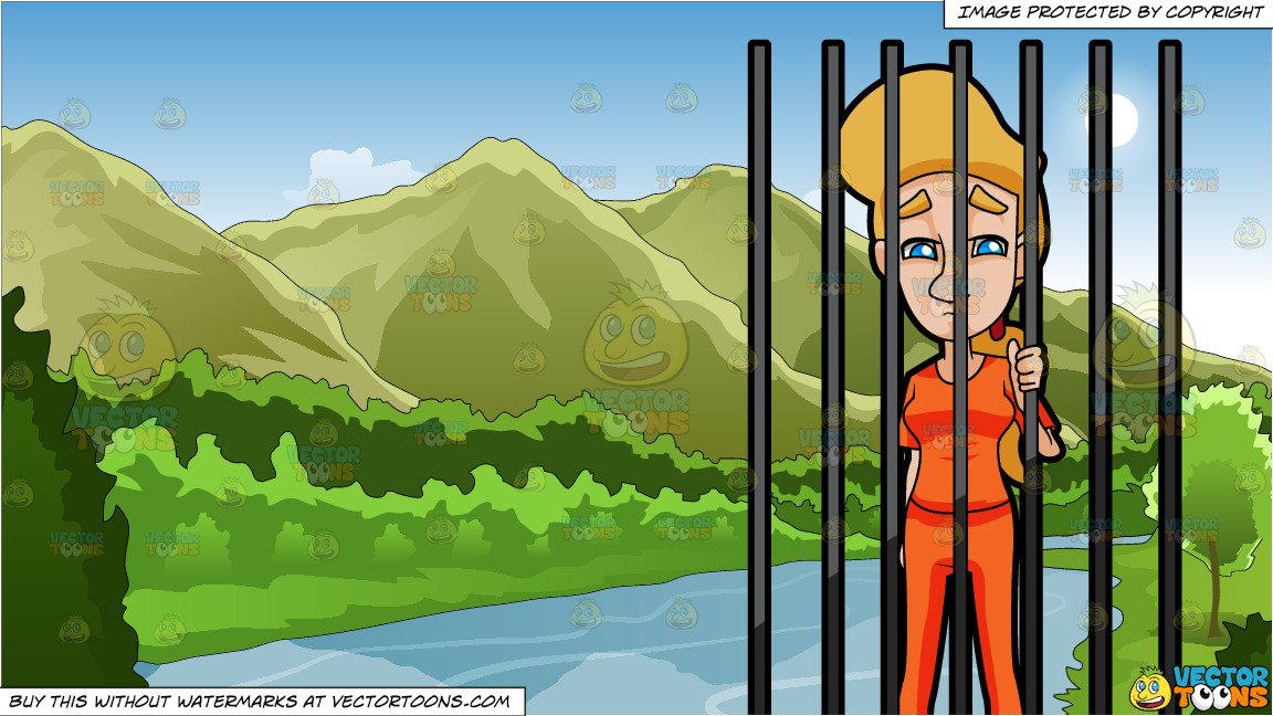 A Woman Behind Bars and Mountains And River Background.
