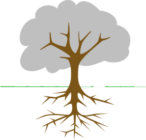 Tree clipart with roots.