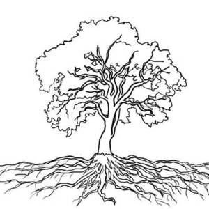 Tree Root Coloring. Tree. Awesome Printable Coloring Page.