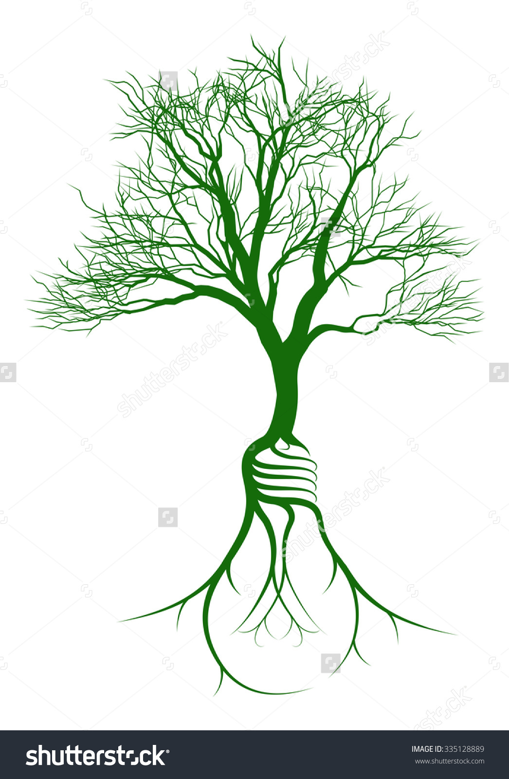 Tree Growing Light Bulb Shaped Roots Stock Illustration 335128889.