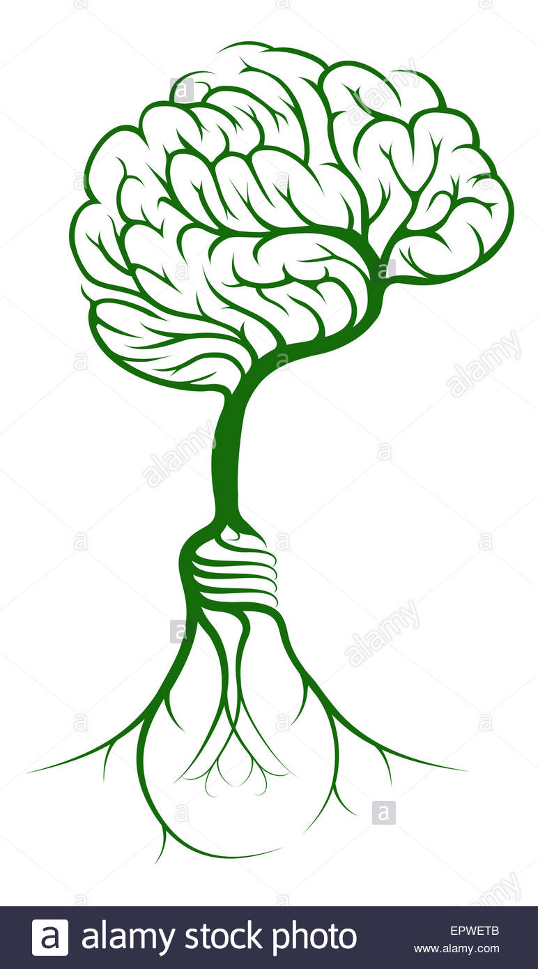 A Brain Shaped Tree Growing From Lightbulb Shaped Roots Stock.