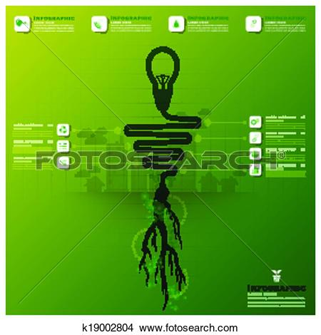 Clipart of Light Bulb Tree And Root Infographic Science Background.