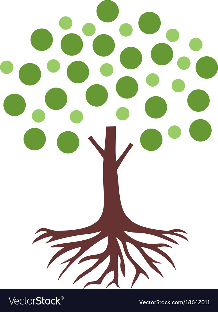 Bubble tree root logo.