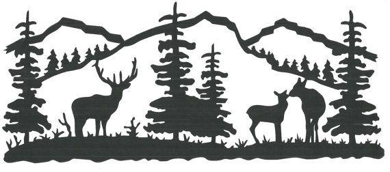 Elk/Tree Scene wall vinyl.