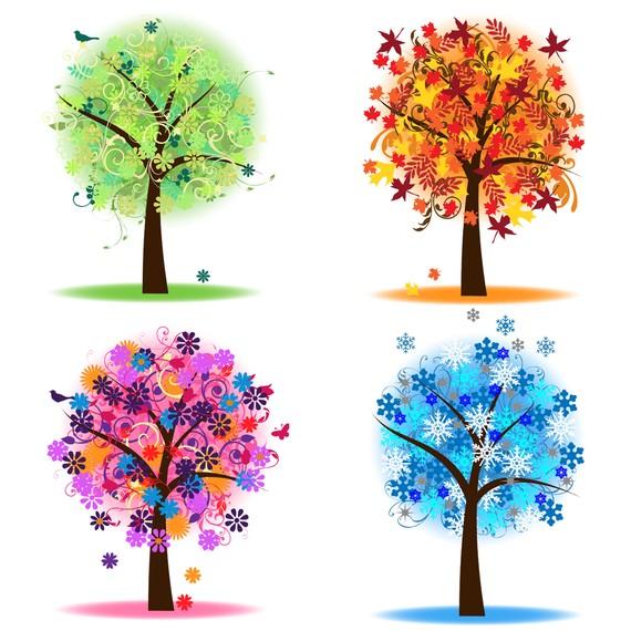 Four Seasons Trees Clipart Clip Art, Spring Summer Winter Fall.