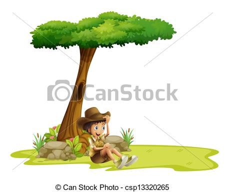 Clip Art Vector of A boy resting under a tree.