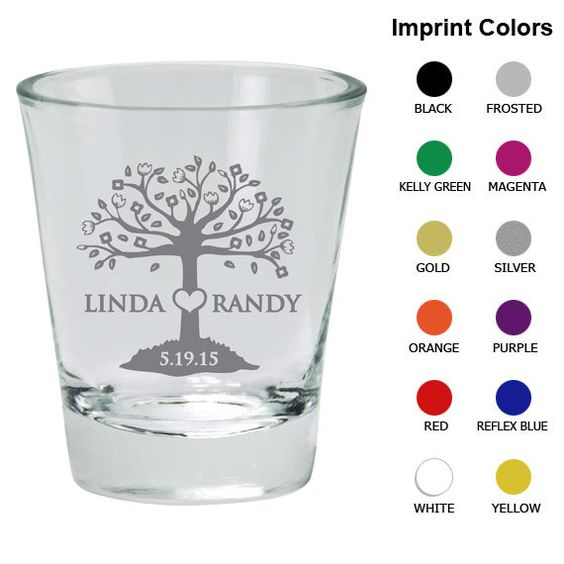 Personalized Shot Glasses (Clipart 1144) Tree of Love.