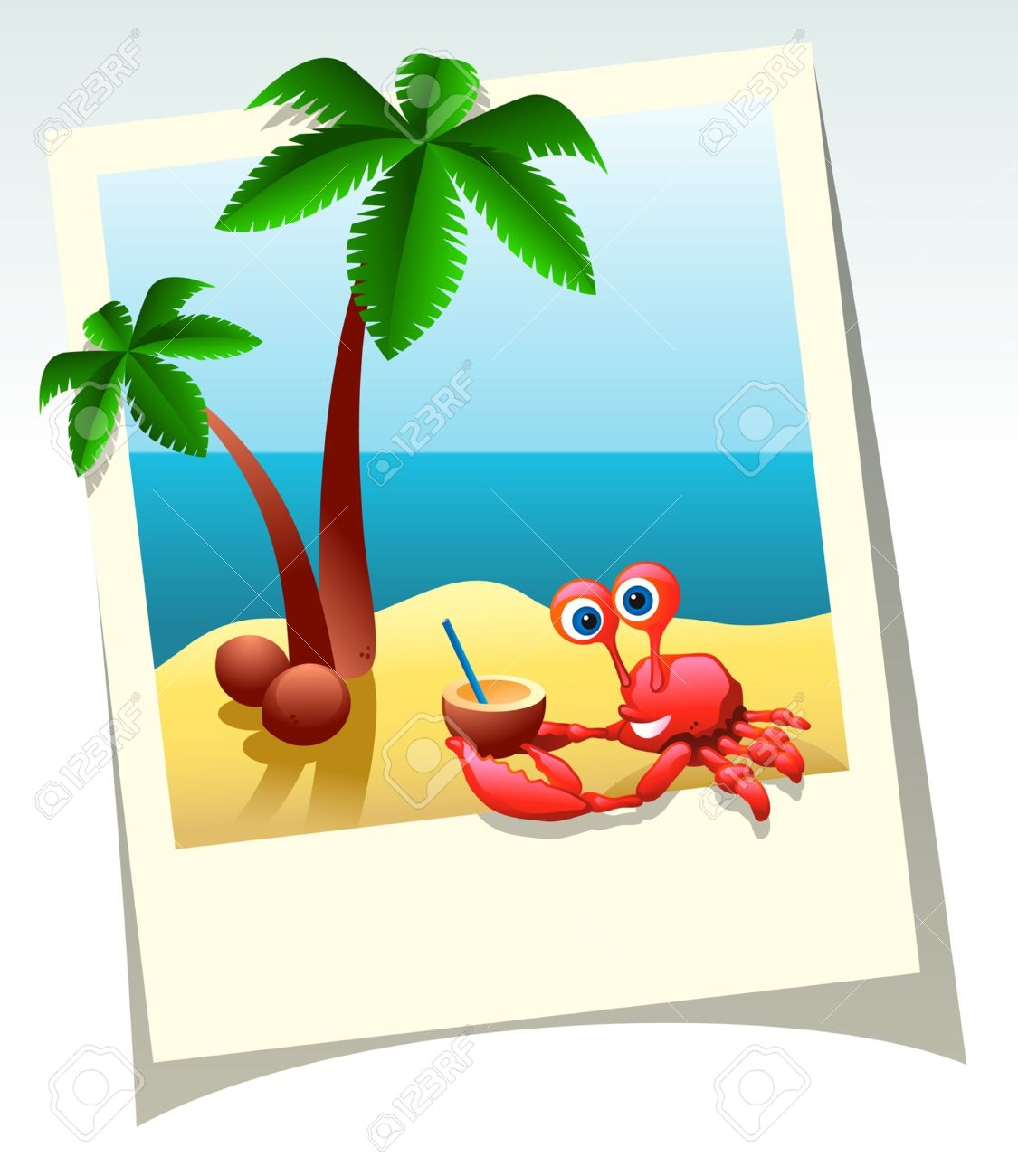 Cartoon Summer Shot Of Sea Beach, Palm Trees, And Crab With.