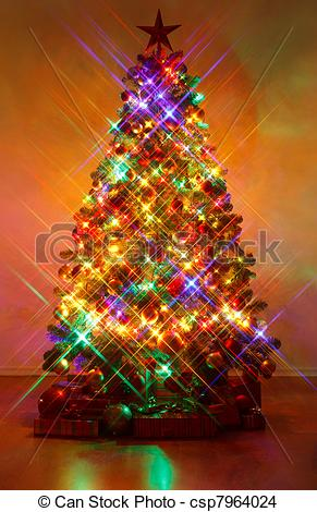 Stock Photo of Christmas tree shot with cross screen filter.