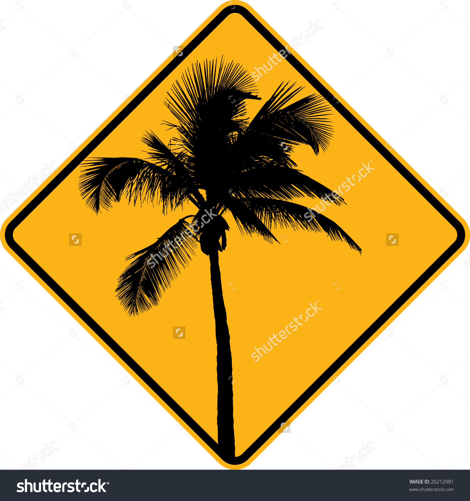 Palm Tree Sign Yellow Black Stock Vector 20212981.